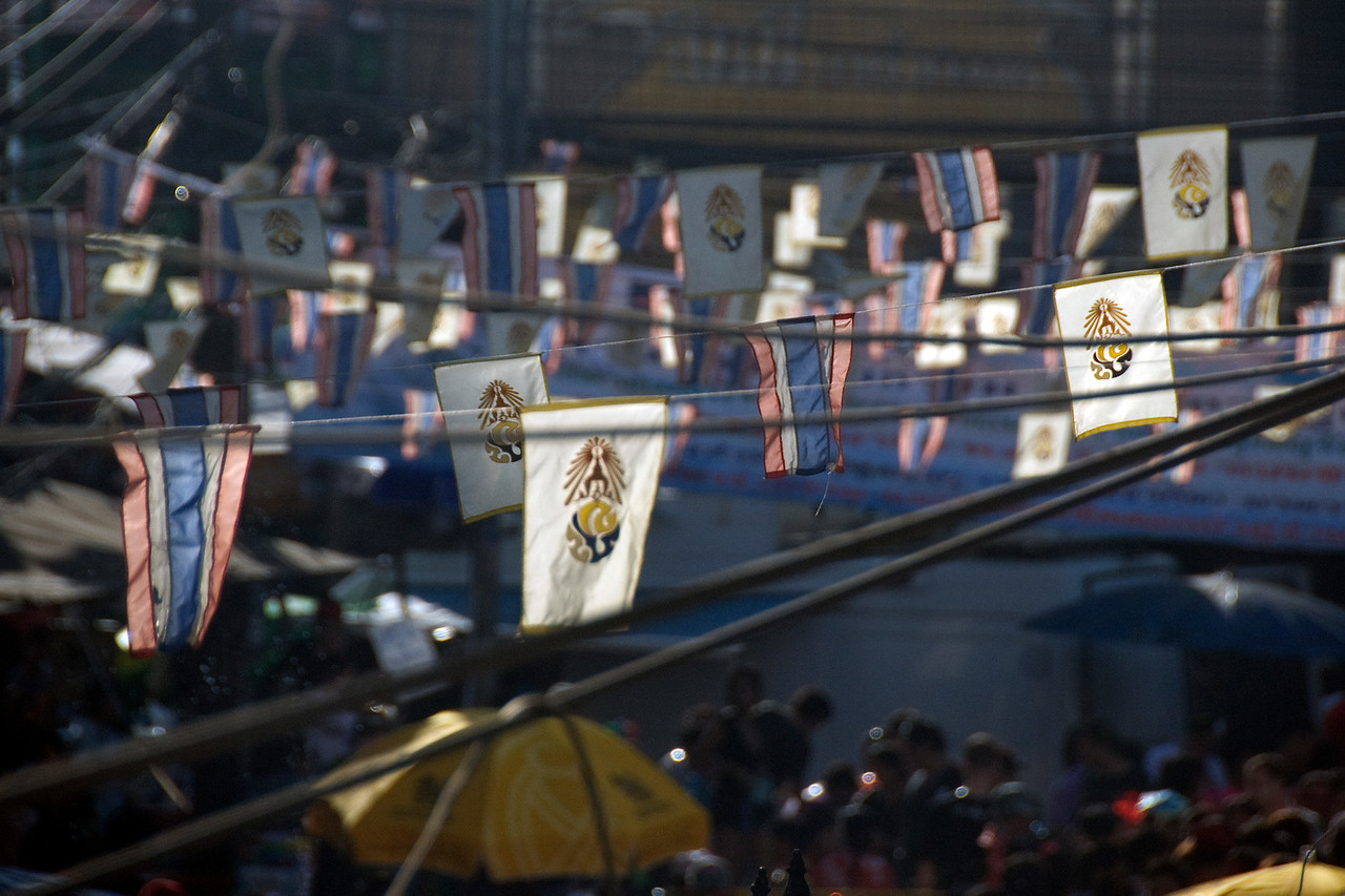 Small flags hung during the 2010 Songkran Festival