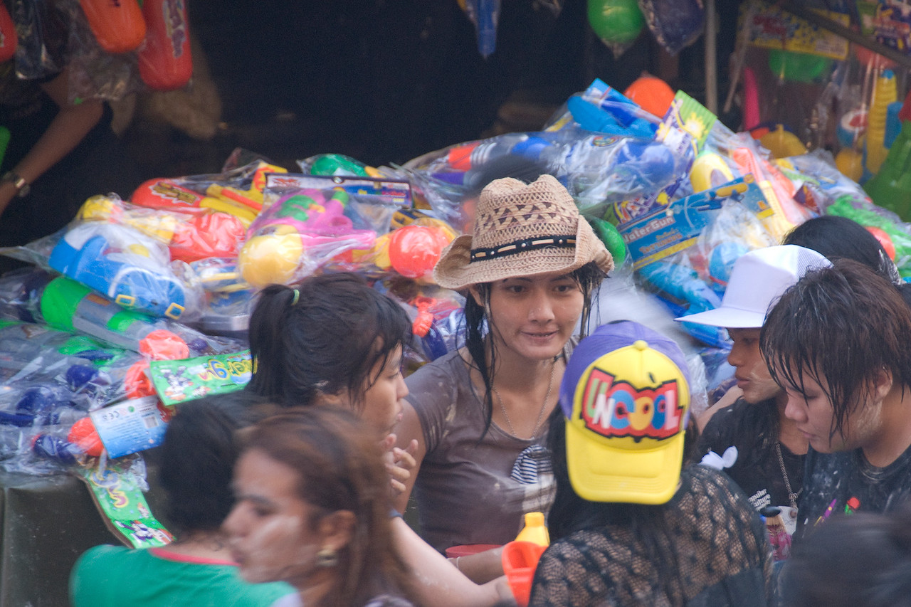 Women taking a break from the 2010 Songkran Festival