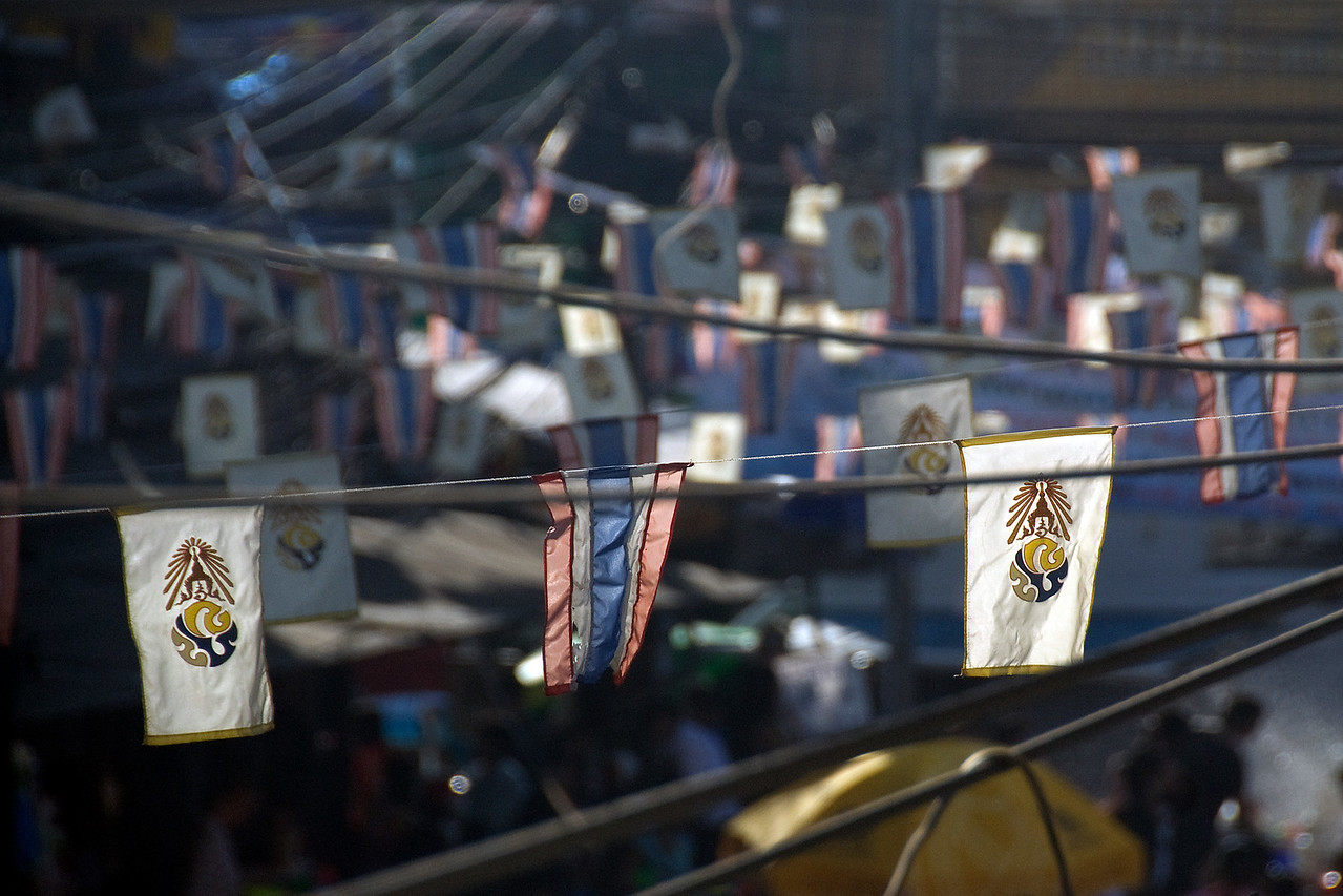 Close-up of small flags at the 2010 Songkran Festival