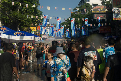 Crowd being sprayed with water during 2010 Songkran Festival