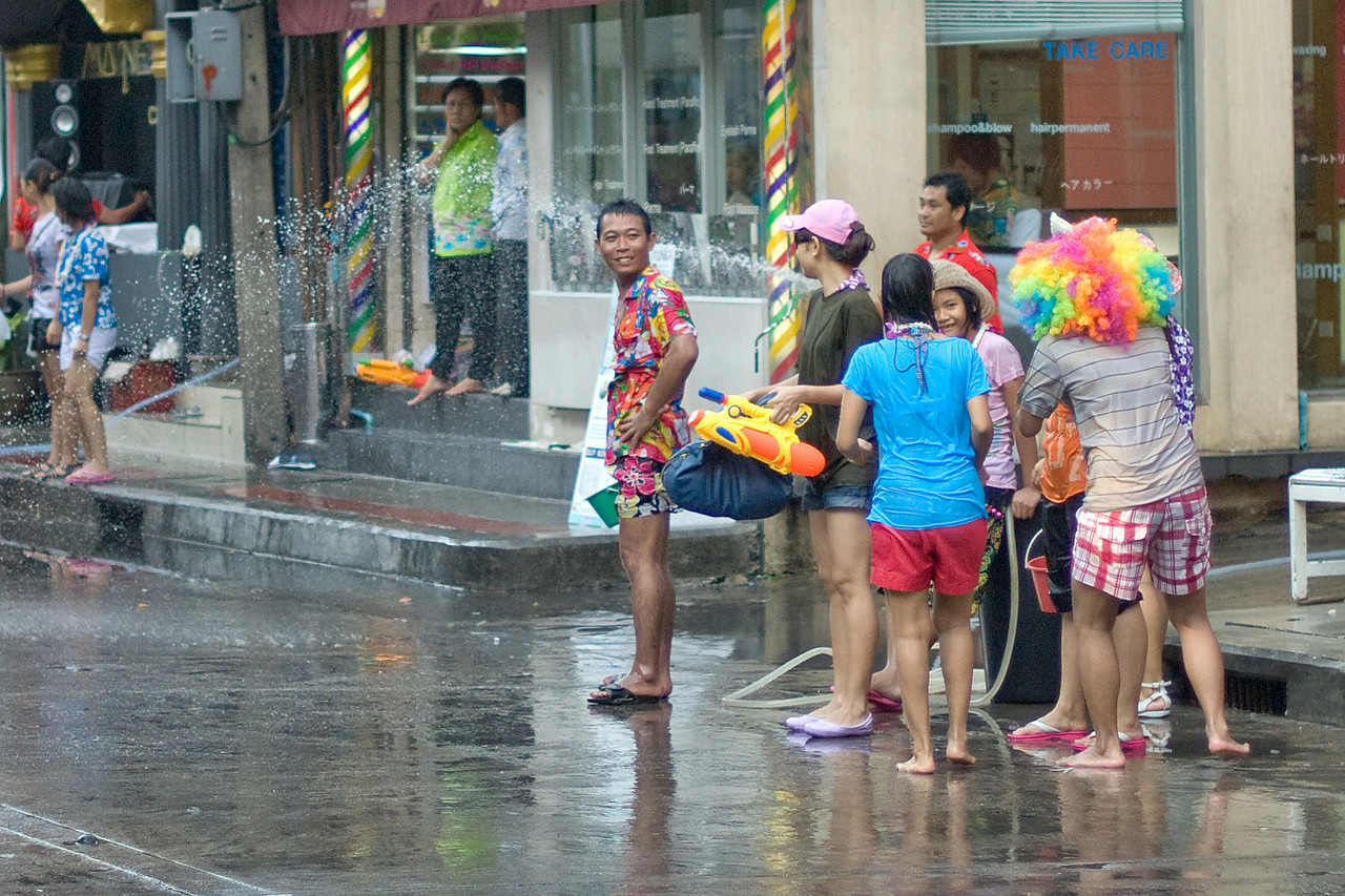Onlookers waiting for passersby during the 2010 Songkran Festival