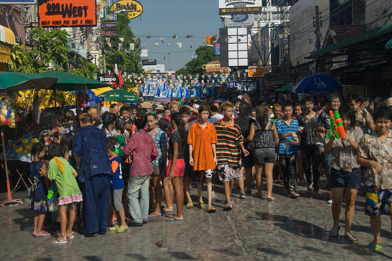 The young crowd during Songkran Festival in Thailand