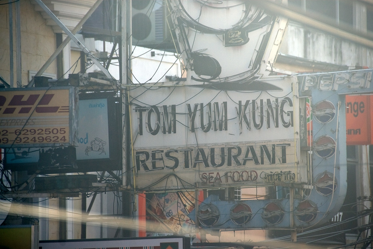 Restaurant sign spotted during Songkran Festival in Thailand
