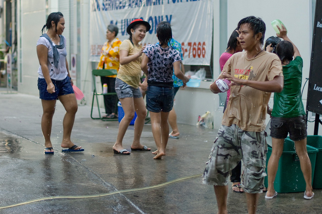The rowdy crowd at the 2010 Songkran Festival in Thailand