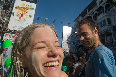 Tourists having fun at the 2010 Songkran Festival