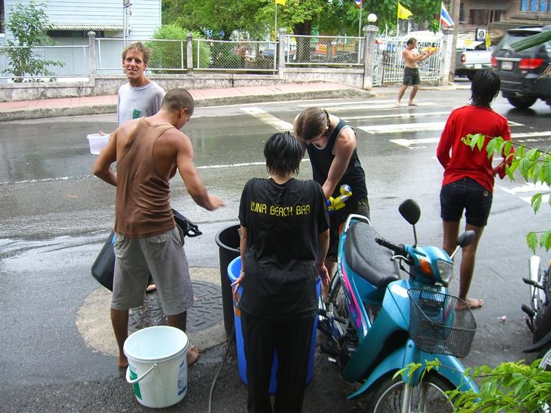People at Songkran Fun - Krabi, Thailand