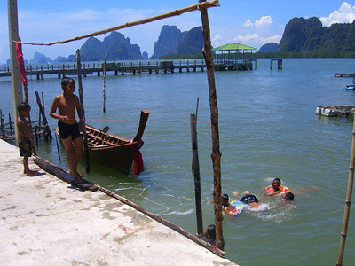 Kids Swimming in the Bay - Pha Nga, Thailand