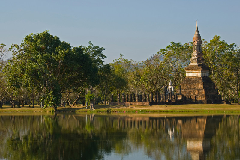 Trees near the main pagoda in Wat Traphang Ngoen - Sukhothai, Thailand