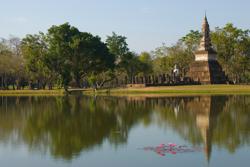 Beautiful pond with lotus at Wat Traphang Ngoen - Sukhothai, Thailand