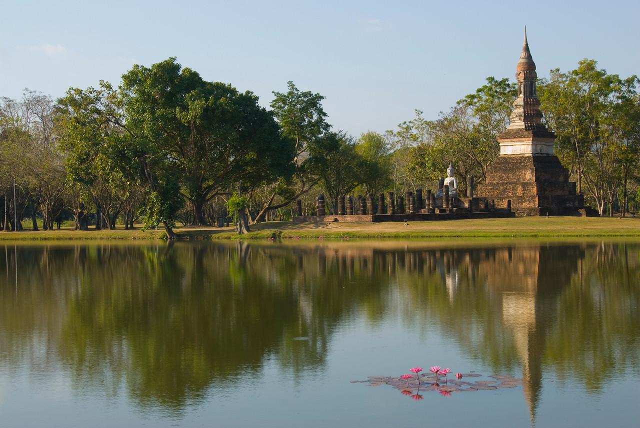 Beautiful pond with lotus at Wat Traphang Ngoen - Sukhothai, Thailand