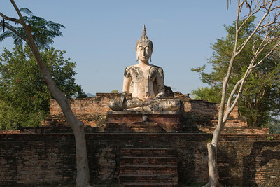 FUll profile of the Buddha statue in Wat Mae Chon - Sukhothai, Thailand