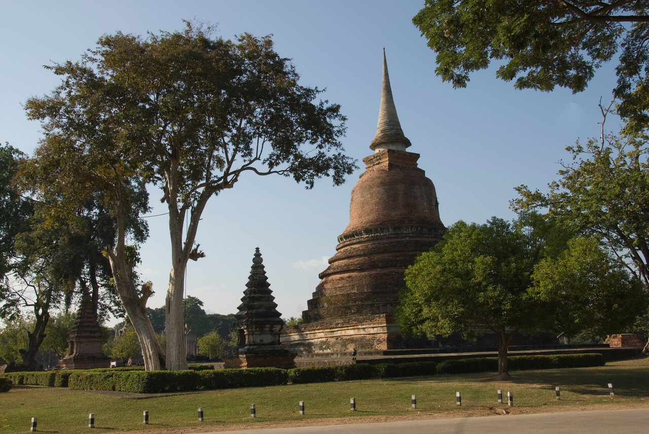 Tower and pagoda inside Wat Sa Si - Sukhothai, Thailand