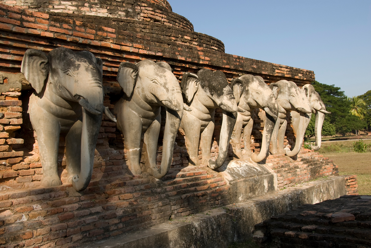 Elephant carvings on the wall of Wat Sorasak - Sukhothai, Thailand