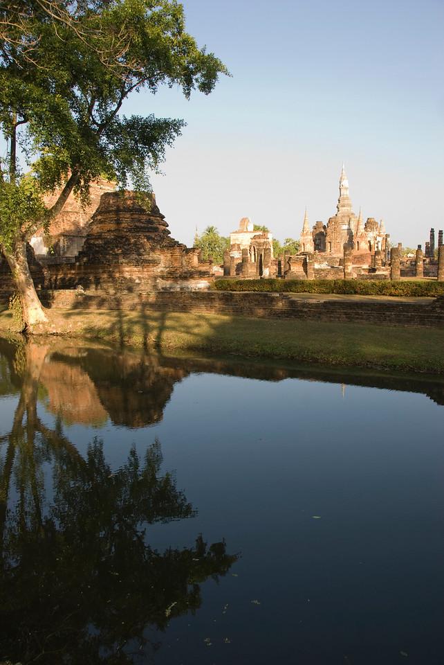 Beautiful shot of the Wat Mahathat ruins - Sukhothai, Thailand