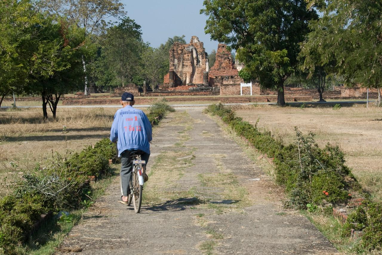 Man on bike spotted in Sukhothai, Thailand