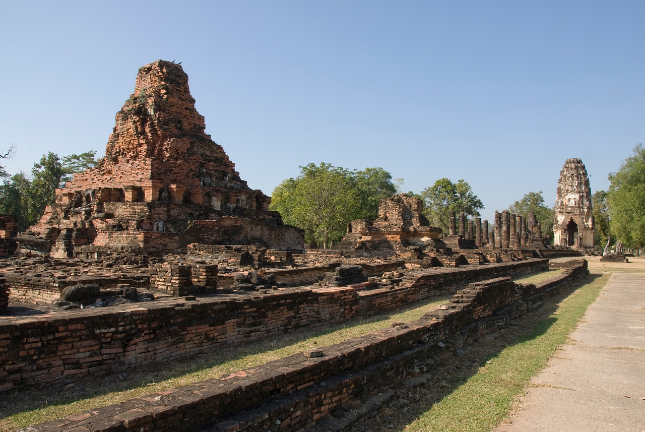 Wide shot of ruins at Wat Phra Phai Luang - Sukhothai, Thailand