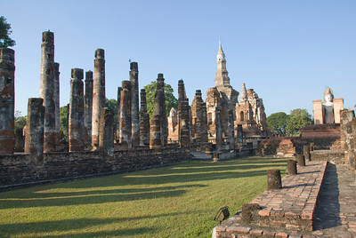 The open ground and pillars at Wat Mahathat - Sukhothai, Thailand