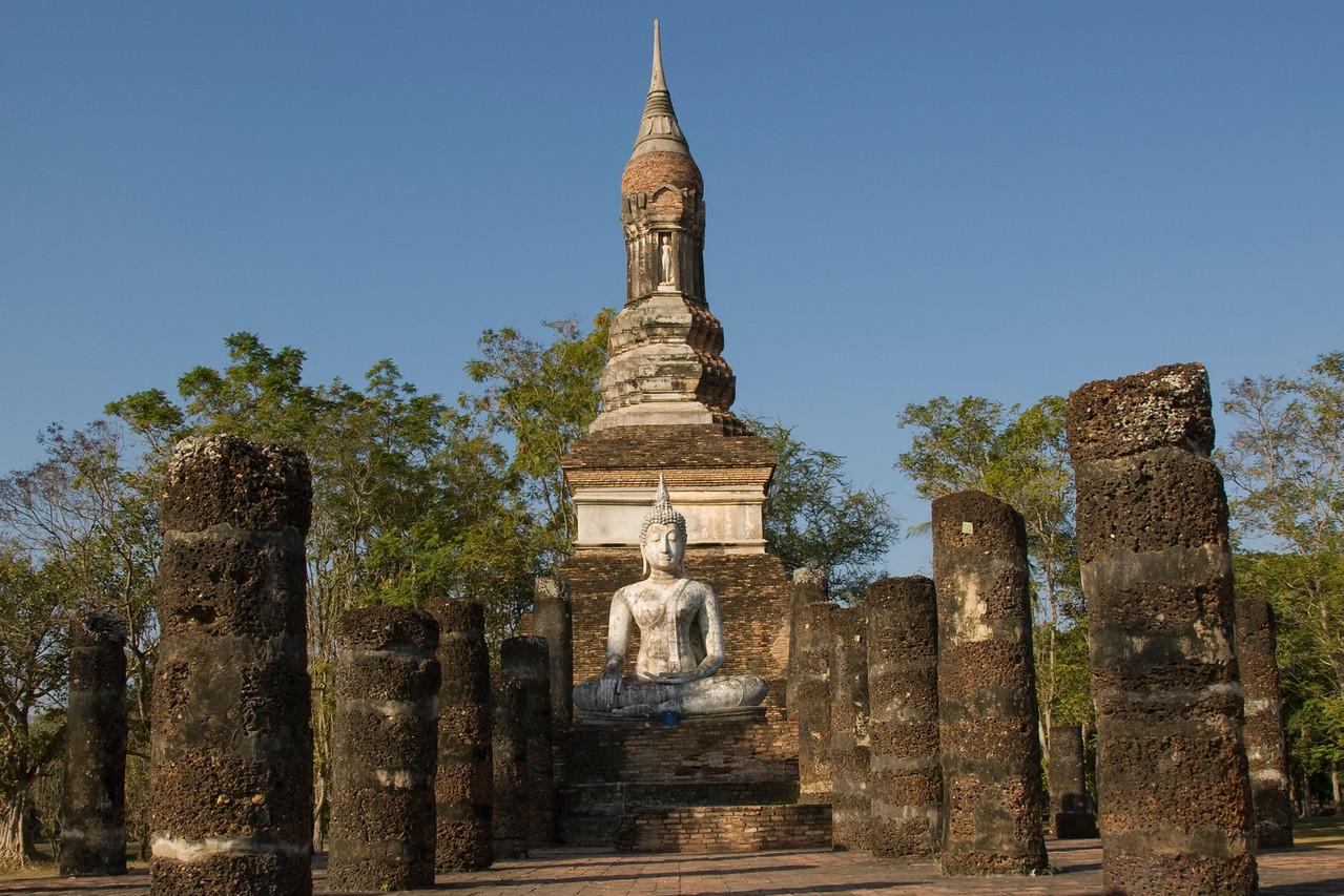 Buddha Sitting in ruin at Wat Mahathat - Sukhothai, Thailand