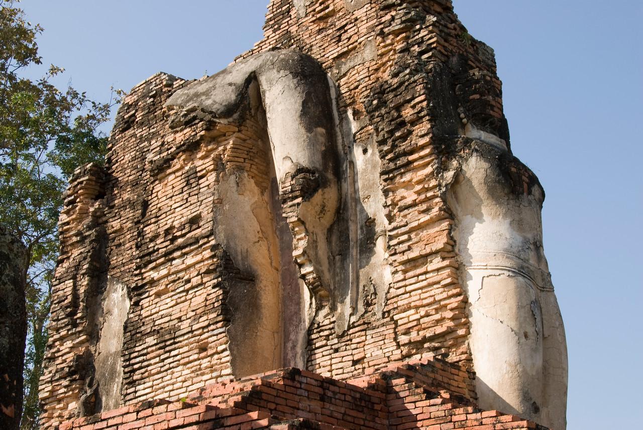 Detailed shot of ruins at Wat Phra Phai Luang - Sukhothai, Thailand