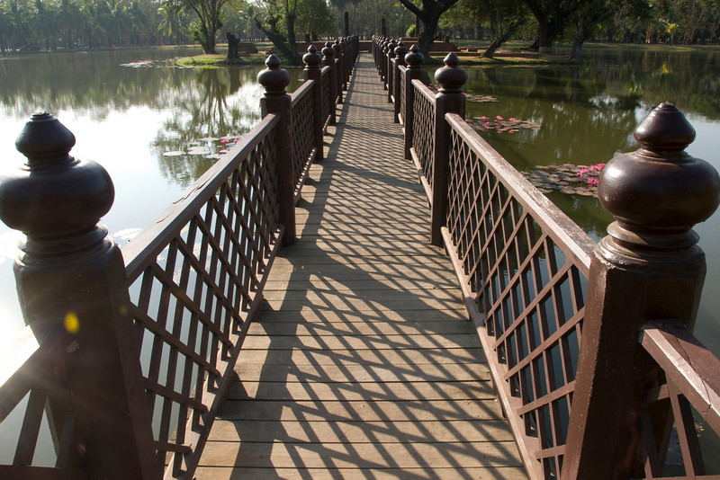 Wooden bridge near Wat Traphang Ngoen - Sukhothai, Thailand