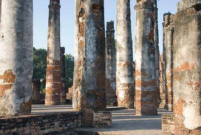 Dilapidated pillars at Wat Mahathat - Sukhothai, Thailand