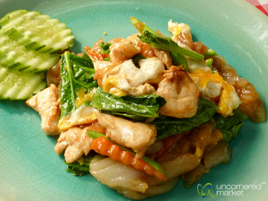 Wide Noodles Stir-Fried with Chicken and Kale - Koh Samui, Thailand