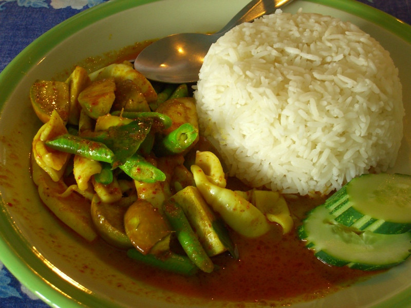 Thai Red Curry Squid with Rice - Krabi, Thailand
