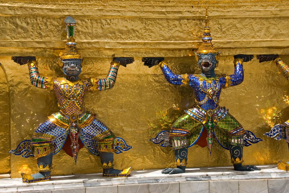 Decorations inside Wat Phra Kaew Temple in Bangkok, Thailand