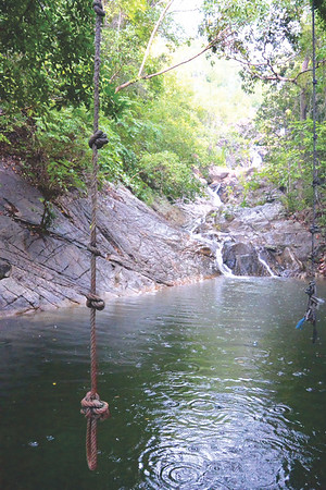 Rope swing waterfall Koh Pha Ngan. December 2014