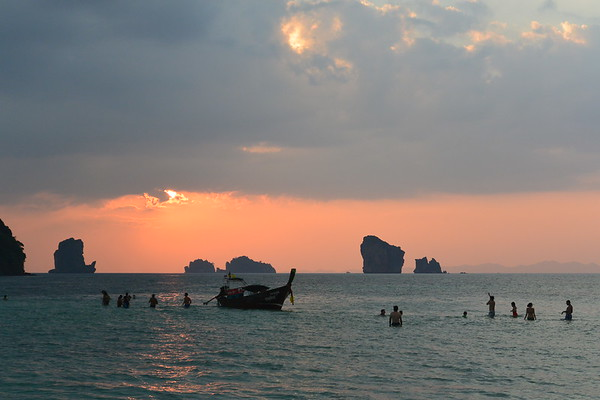 Sand bar at sunset in Krabi. January 2015