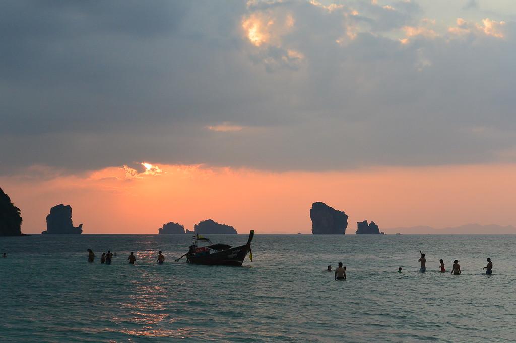 Sand bar at sunset in Krabi. January 2015