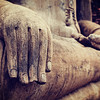 Buddha statue hand close up detail