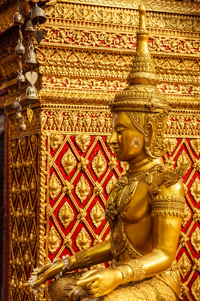 Sitting Buddha statue in Wat Phra That Doi Suthep, Chiang Mai, Thailand, Asia, Buddha, Buddhism, Buddhist, Buddhist temple, Chiang Mai, Thailand, Wat Phra That Doi Suthep, asian, gilded, god, gold, golden, lord, religion, religious building, sculpture, seated, sit, sitting, sitting Buddha, statuary, statue, temple, thai