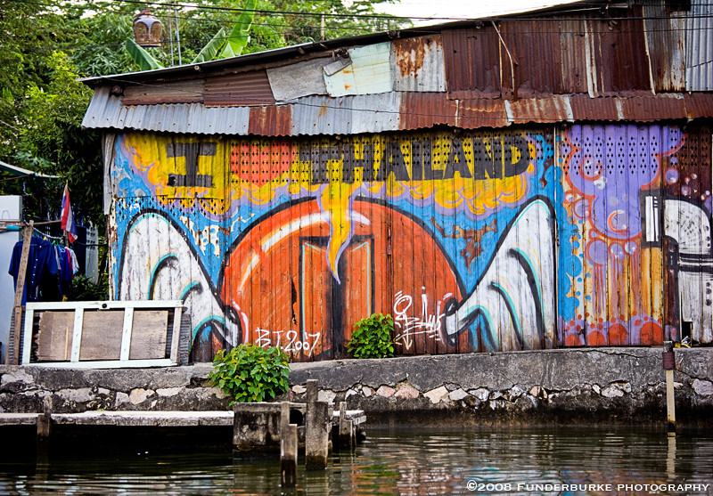 Grafitti along Thonburi Canals, Bangkok