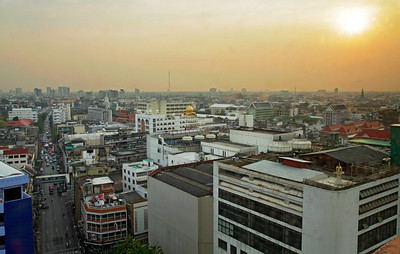Bangkok, Thailand Bangkok skyline at sunset (view from Grande Ville Hotel)