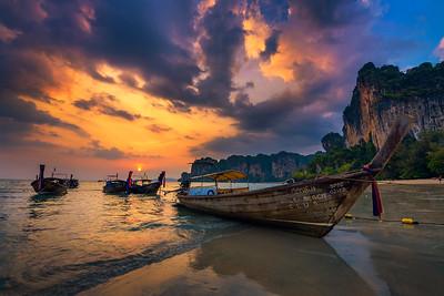 Sunset over Railay Beach at Krabi, Thailand