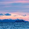 Sea sunset with criuse ship