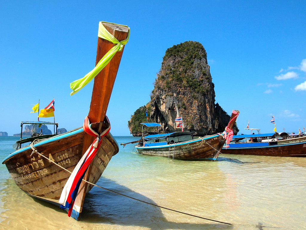 Long tail boats on Pranang Beach in Railay, Thailand