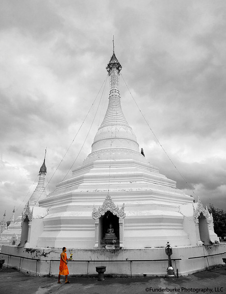 Monk and Burmese Style Stupa - Mae Hong Son