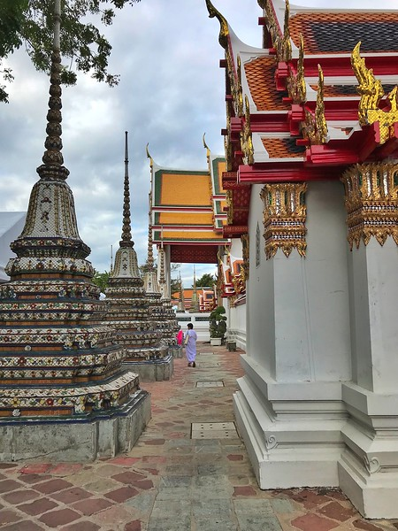 Wat Po temple grounds, one of the largest and oldest wats (temples) in Bangkok, Thailand.