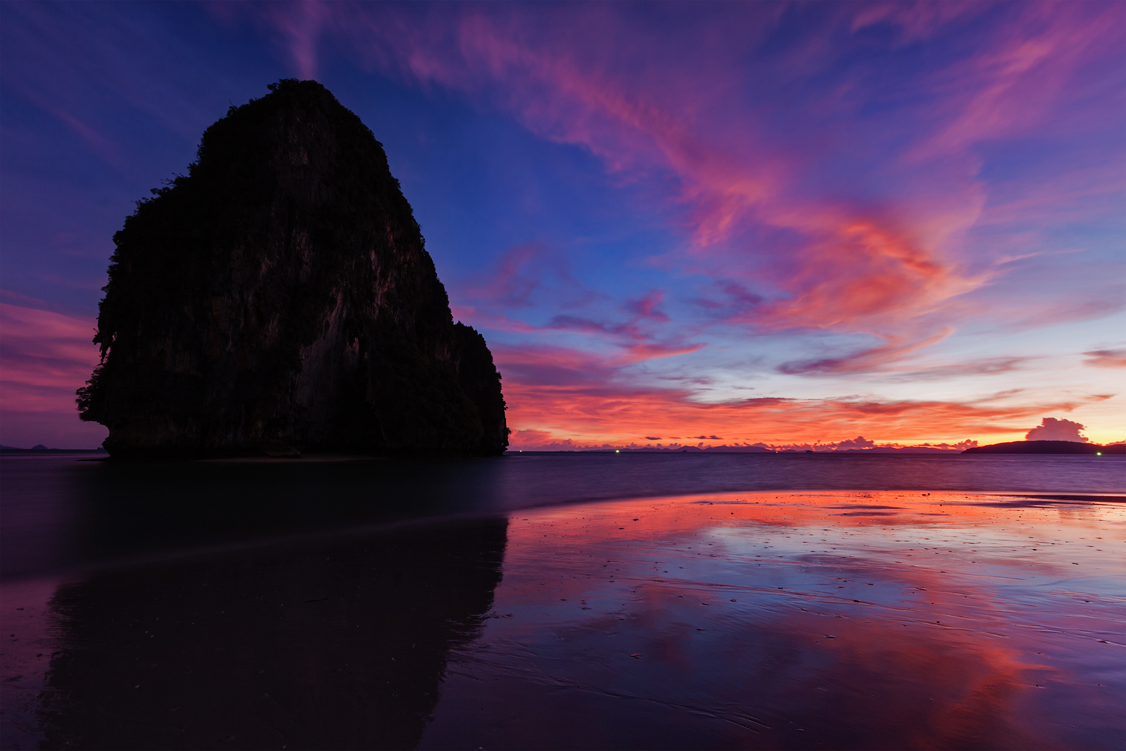 Sunset on Pranang beach. Railay , Krabi Province Thailand