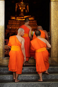 Bangkok, Thailand Entering the temple at Wat Suthat Thep Wararam.
