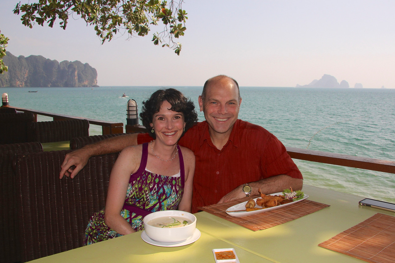 Grabbing a bite and and taking in the view in Ao Nang, the main town about 20 minutes from our hotel.