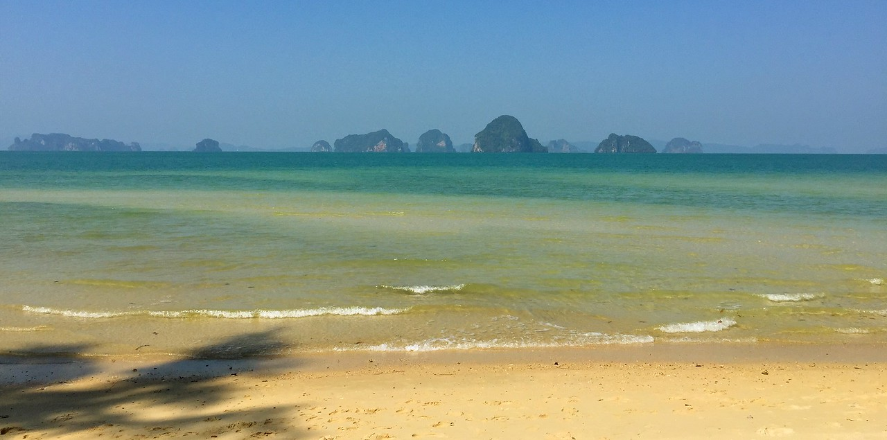 """After doing the """"city thing"""" in Bangkok and Chiang Mai it was time for some beaches!!  We flew into Krabi, then drove about 45 minutes north to our hotel, the stunningly beautiful Amari Vogue!  This is the view from our hotel's beach and our home for 5 days!!!"""