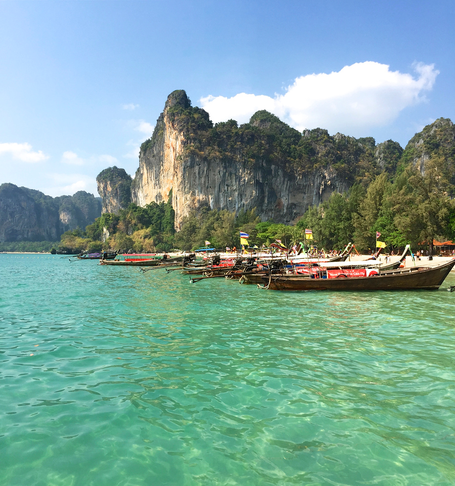 The pristine waters and the towering cliffs at Railay