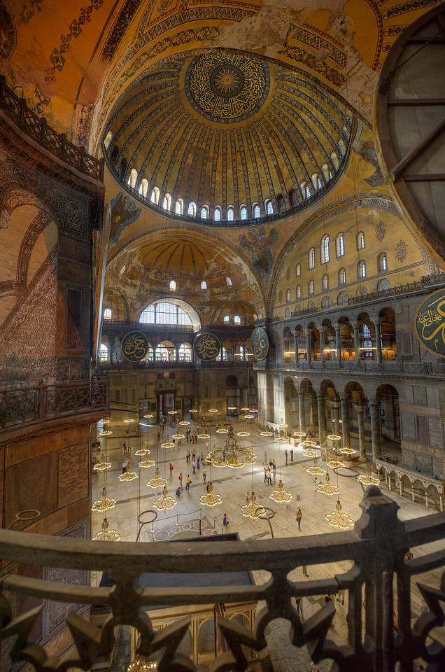 View of the dome and interior complex at Hagia Sophia - Istanbul, Turkey