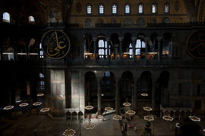 Wide shot of interior at Hagia Sophia - Istanbul, Turkey
