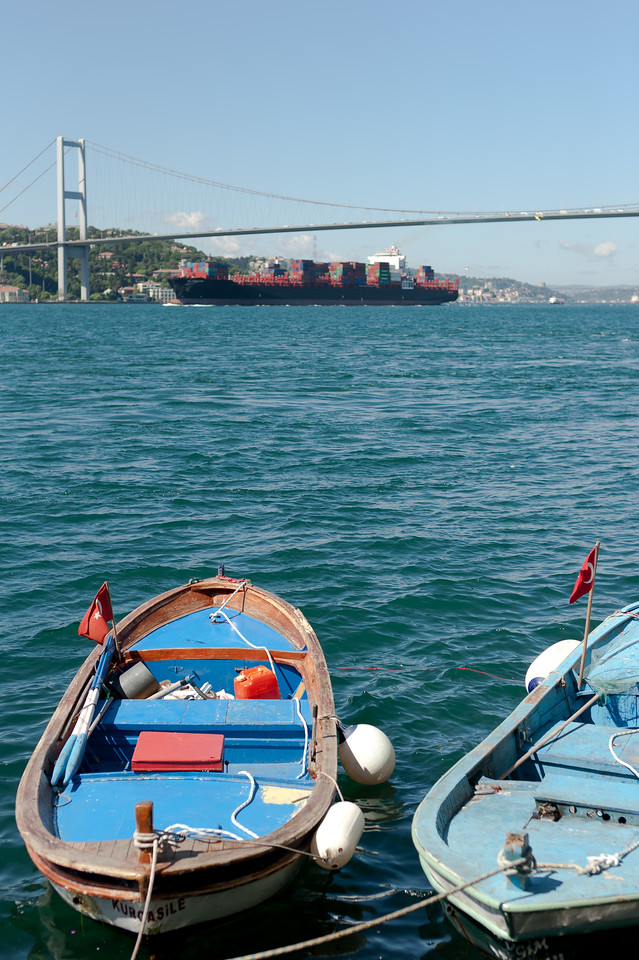 Two small boats near the shore in Istanbul, Turkey