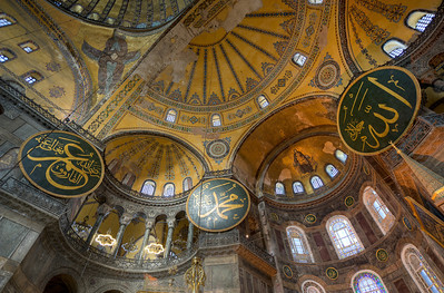 Looking up the ceiling at Hagia Sophia, Istanbul, Turkey