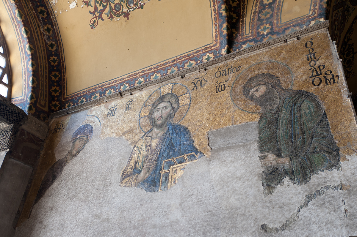 A Byzantine mosaic inside the Hagia Sophia in Istanbul, Turkey